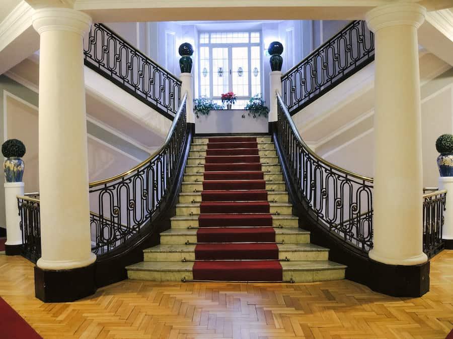grand staircase at Hotel Francuski in Krakow, Poland