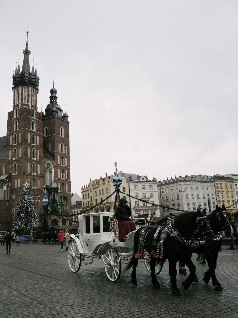 St. Mary's Basilica in Old Town Square in Krakow, Poland