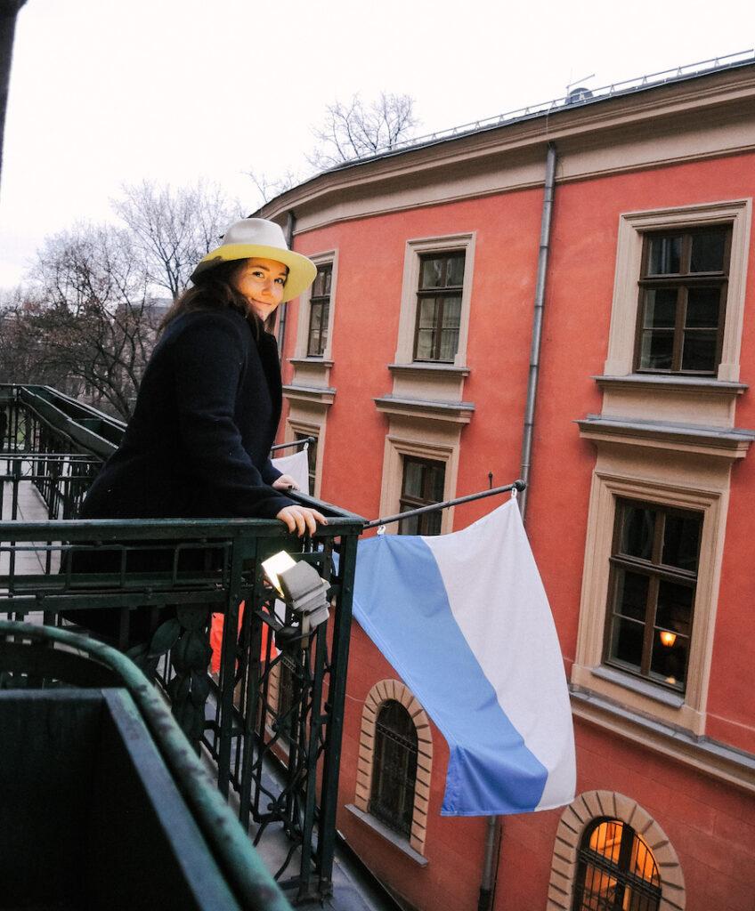 Balcony view from Hotel Francuski in Krakow, Poland