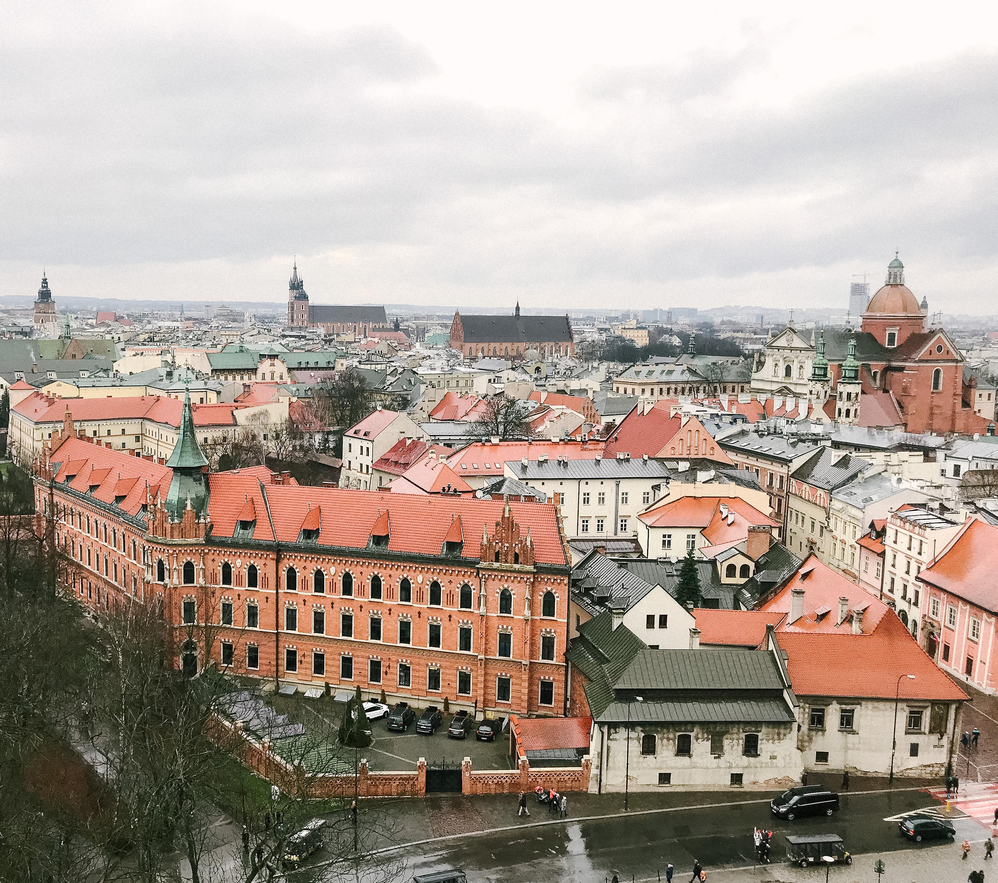 rooftop views of Krakow, Poland