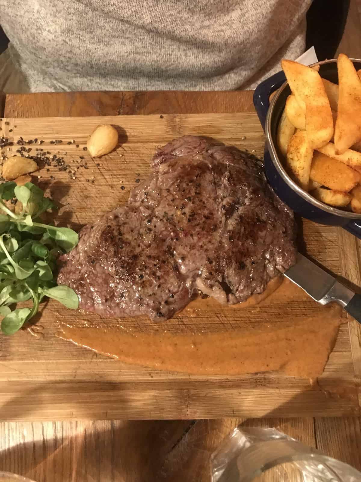 ribeye steak at Restauracja Slawkowska restaurant in Krakow, Poland