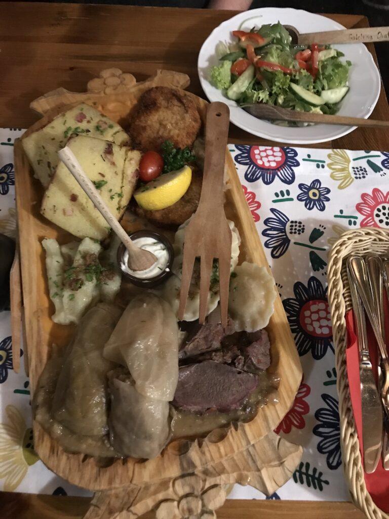 Polish Platter at Goscinna Chata restaurant in Krakow Poland