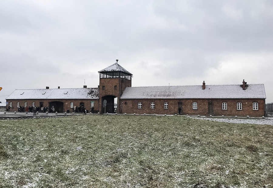 Entrance to Birkenau Concentration camp near Krakow, Poland