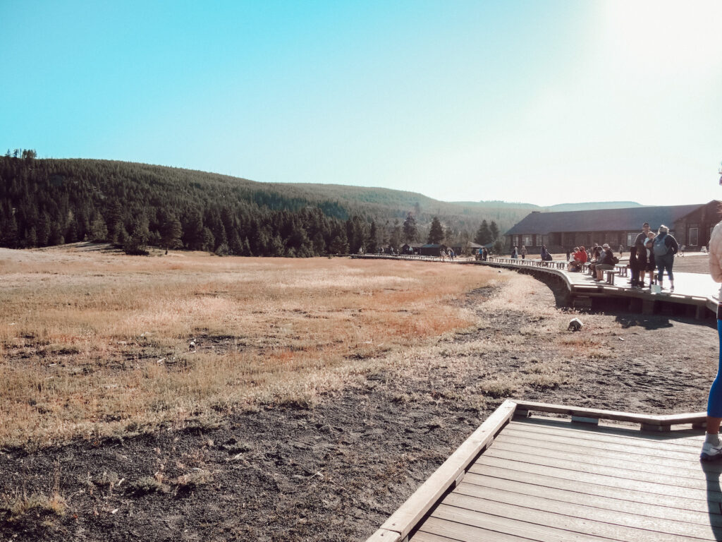 Old Faithful viewing point at Yellowstone National Park