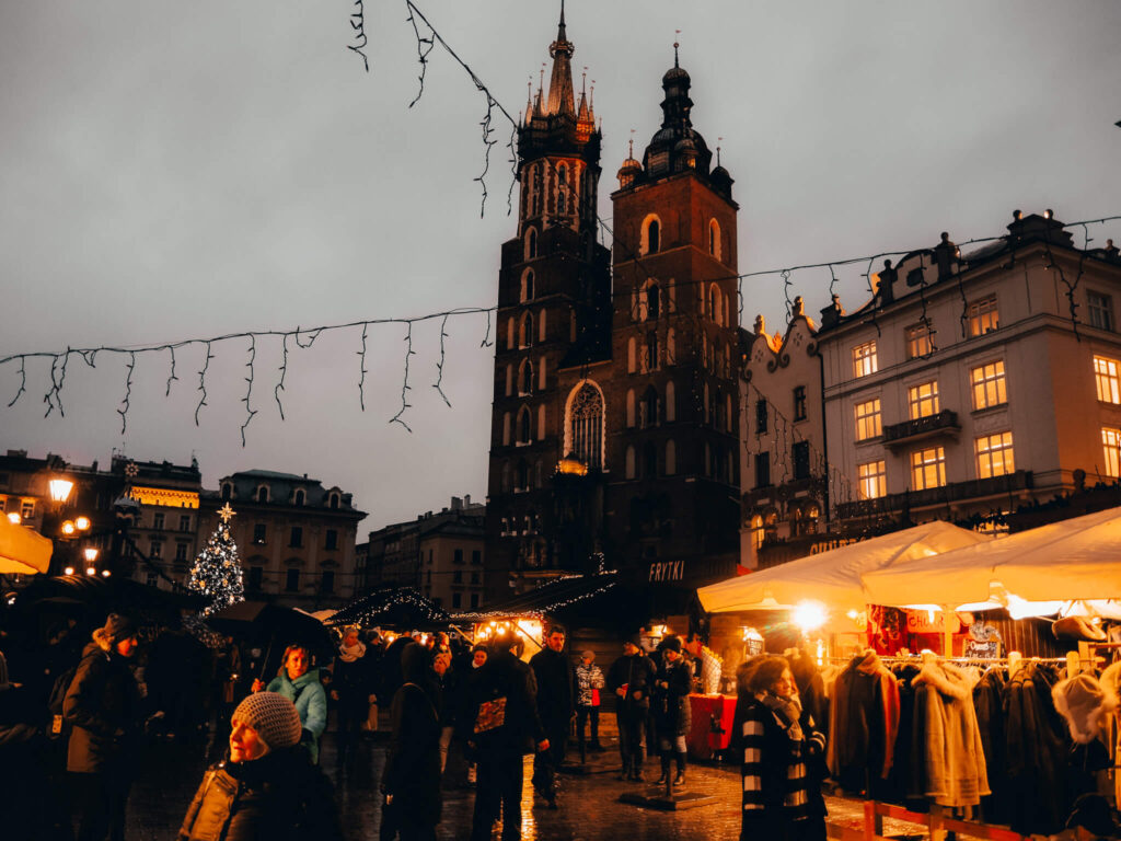 Old Town Square in Krakow Poland at night