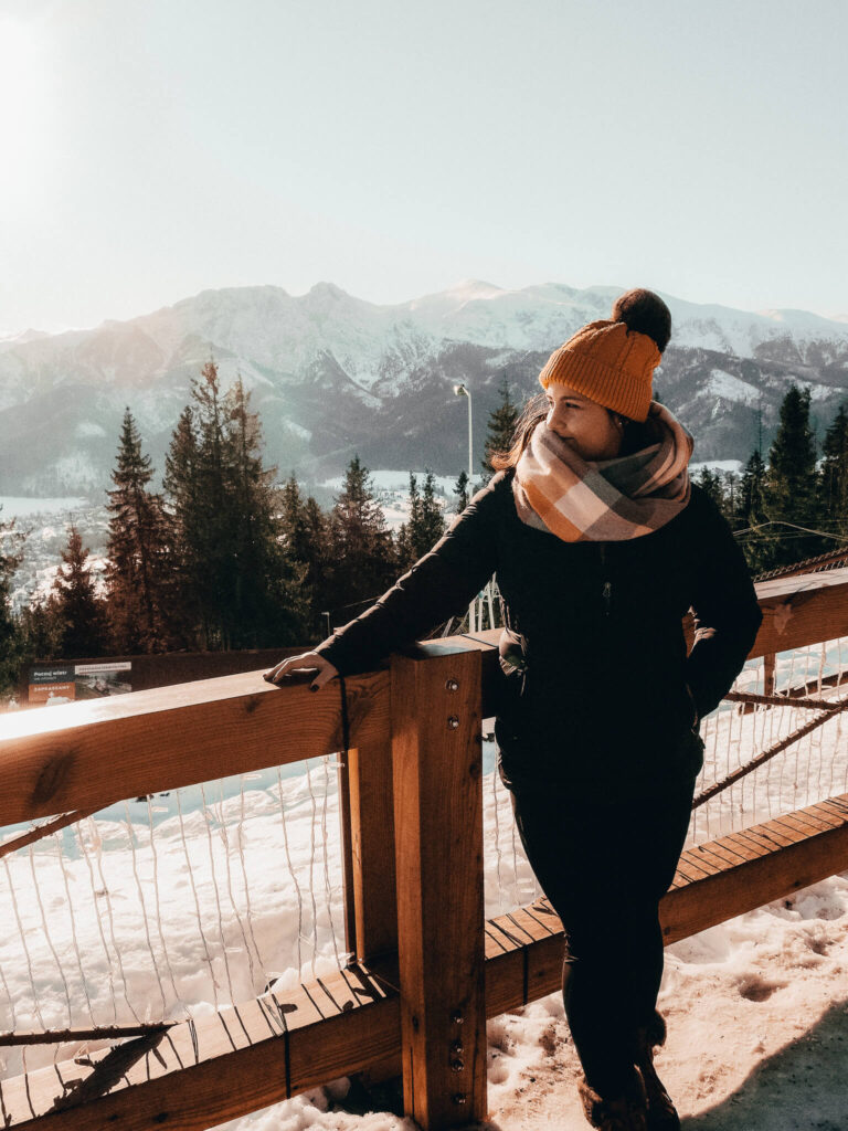 The best time to visit Zakopane, Poland: Winter! Looking out over the mountains of Zakopane