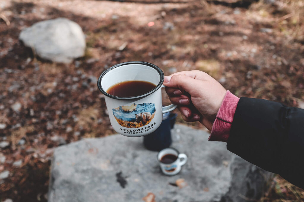 cowboy coffee made while truck camping in Montana