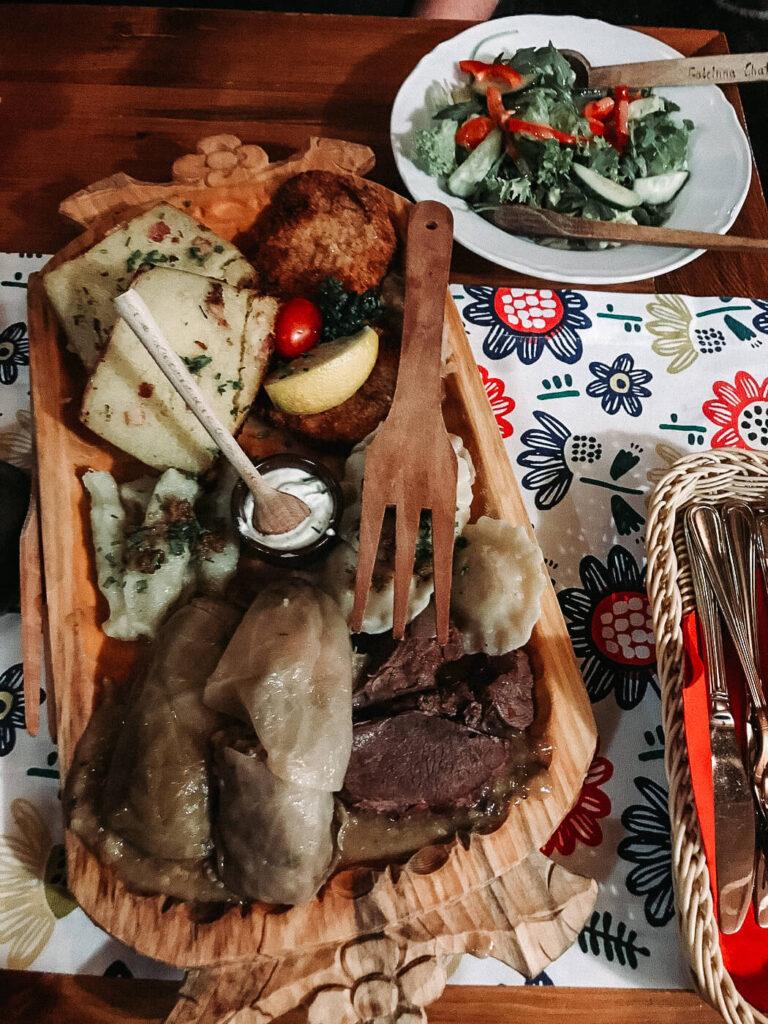Sampler platter at Goscinna Chata in Krakow Poland