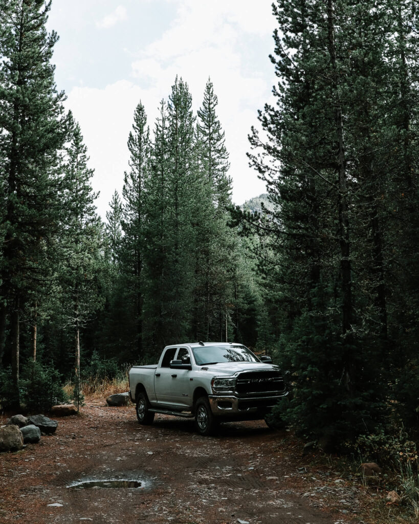 Truck camping in Montana with a RAM 3500