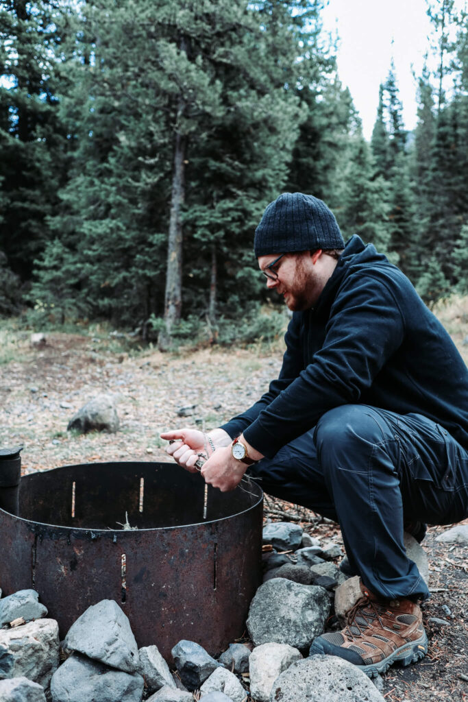 starting a fire while camping