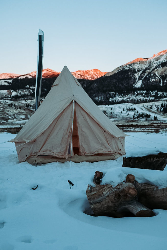 Winter camping near Jackson Hole