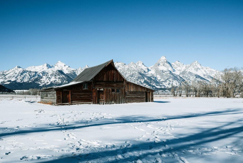 Moulton Barn in Grand Teton National Park in winter