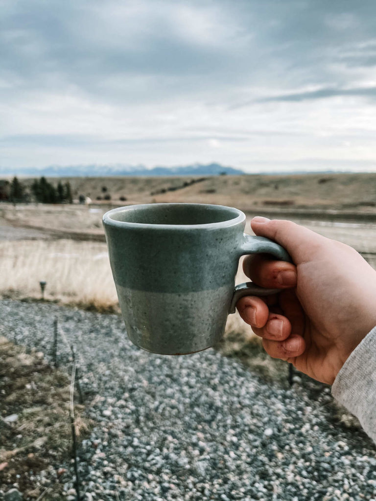 having coffee at the best airbnb in Bozeman, montana: the yonder yurt